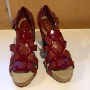 Cole Haan Red leather cork heeled Sandals NEW